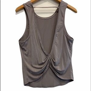 Lululemon Cinched Open Back Gray Tank Top Size 6 GUC